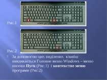 Рис.1 Рис.2 За допомогою цих виділених клавіш викликається Головне меню Windo...