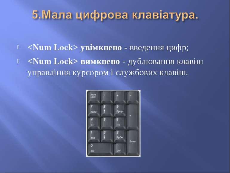 увімкнено - введення цифр; вимкнено - дублювання клавіш управління курсором і...
