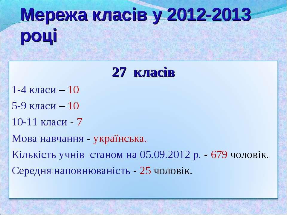 Мережа класів у 2012-2013 році