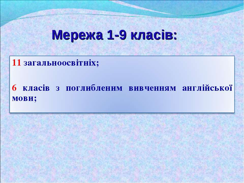 Мережа 1-9 класів: