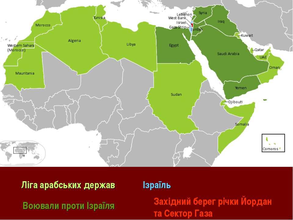 Ліга арабських держав Воювали проти Ізраїля Ізраїль Західний берег річки Йорд...