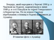 В'язничне фото з Аушвіцу Бендеру, який народився у березні 1906 р. в Чорткові...