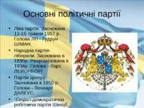 Основні політичні партії Ліва партія. Заснована 13-16 травня 1917 р. Голова Л...