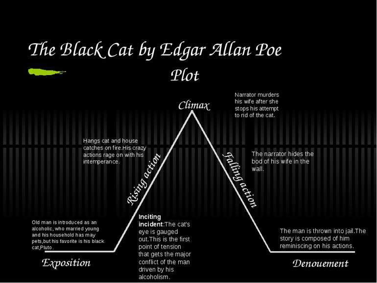 The Black Cat by Edgar Allan Poe Plot Exposition Rising action Climax Falling...