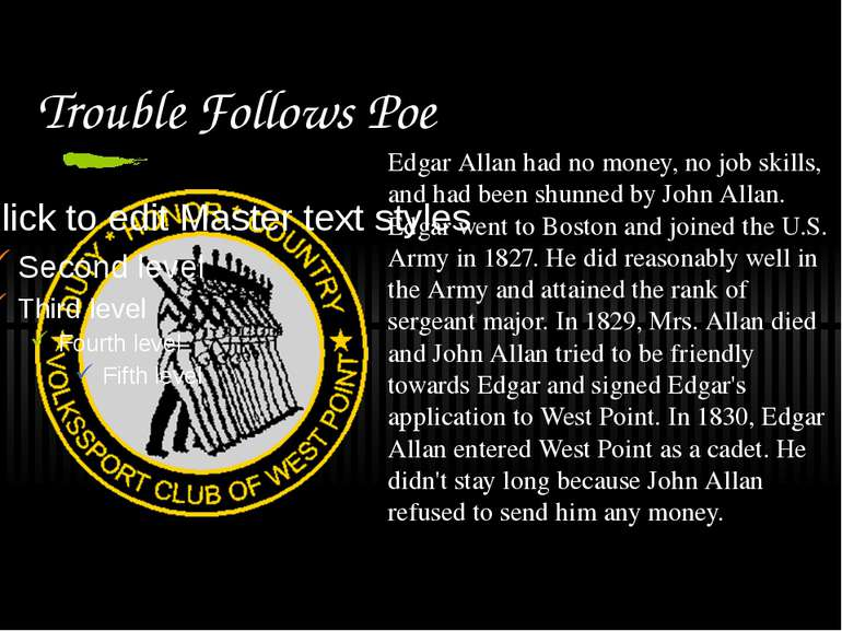 Trouble Follows Poe Edgar Allan had no money, no job skills, and had been shu...