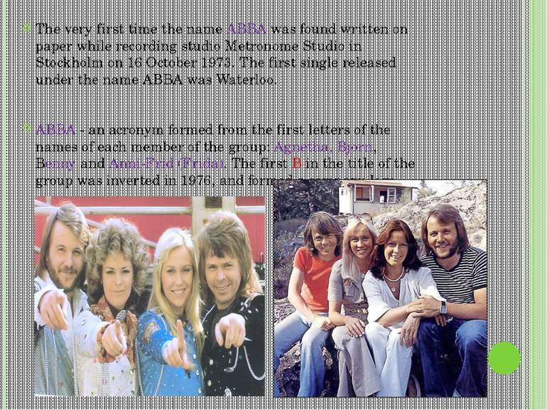 The very first time the name ABBA was found written on paper while recording ...