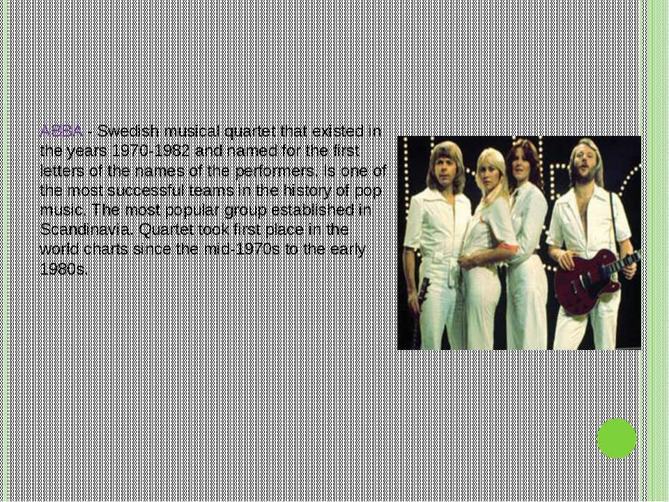 ABBA - Swedish musical quartet that existed in the years 1970-1982 and named ...