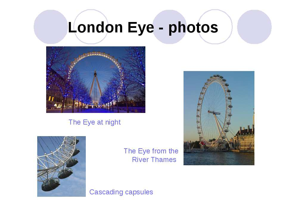London Eye - photos Cascading capsules The Eye at night The Eye from the Rive...