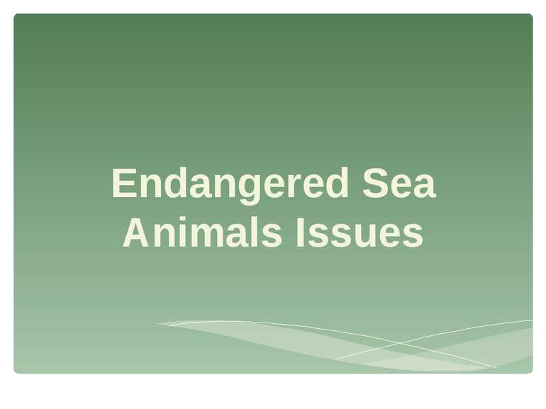 Endangered Sea Animals Issues