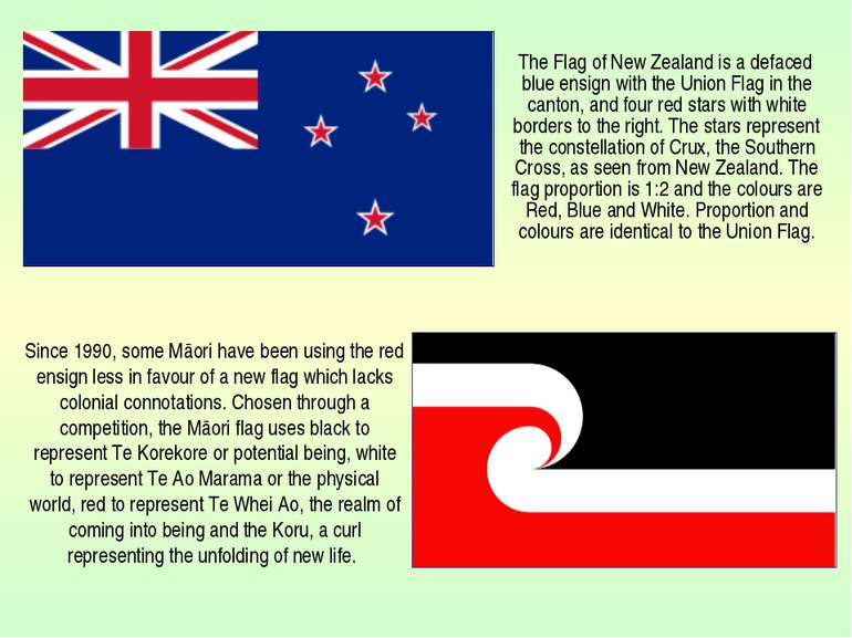 The Flag of New Zealand is a defaced blue ensign with the Union Flag in the c...