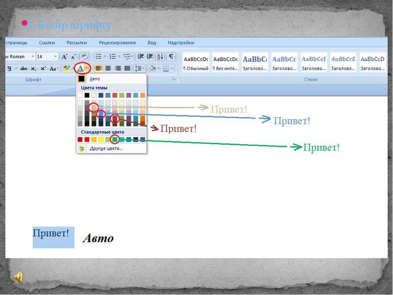 Для застосування стилю зі списку експрес-стилів необхідно: виділити фрагмент ...