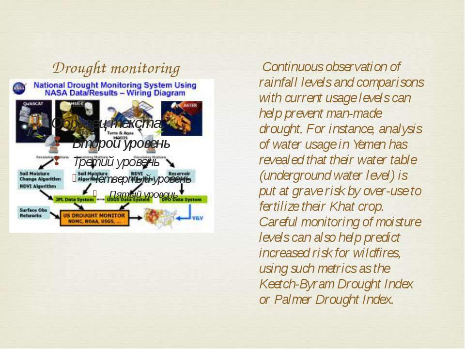 Drought monitoring Continuous observation of rainfall levels and comparisons ...