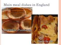 Main meal dishes in England