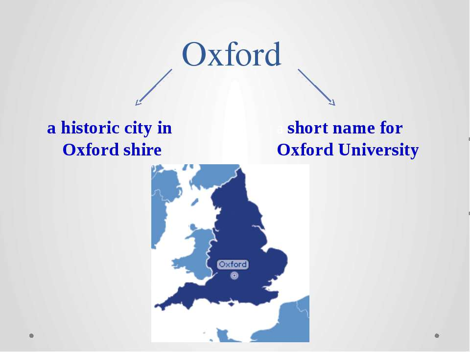 Oxford a historic city in Oxford shire a short name for Oxford University