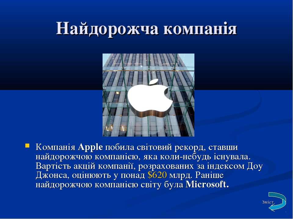 Найдорожча компанія КомпаніяApple побила світовий рекорд, ставши найдорожчою...