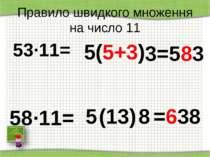 http://aida.ucoz.ru Правило швидкого множення на число 11 53∙11= 5 3 (5+3) =5...