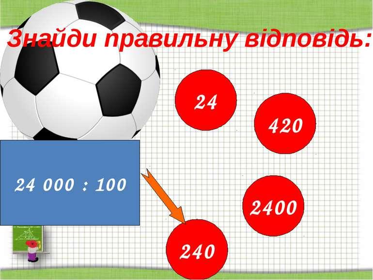 http://aida.ucoz.ru Знайди правильну відповідь: 24 000 : 100 24 420 2400 240