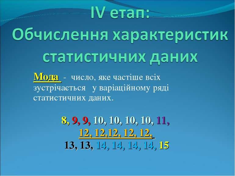 Мода - число, яке частіше всіх зустрічається у варіаційному ряді статистичних...