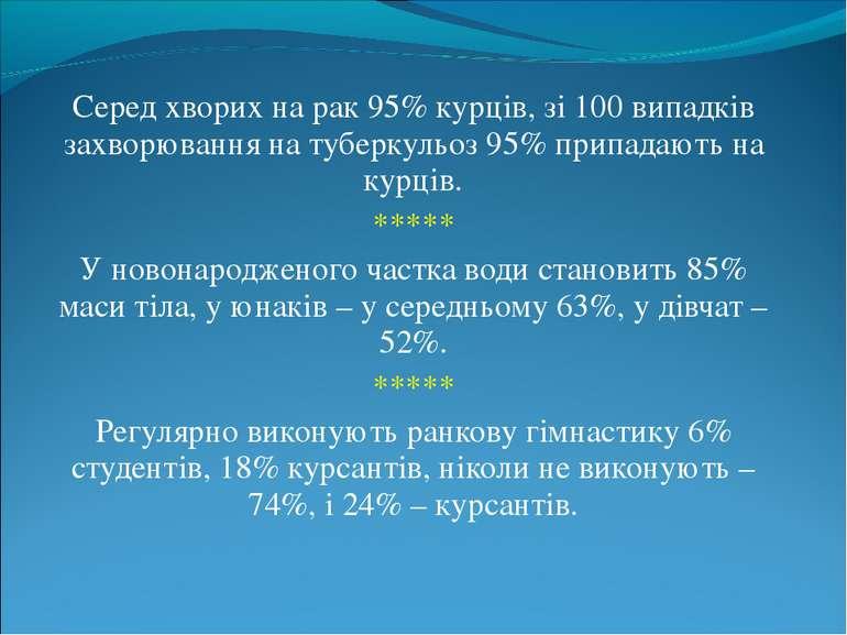 Серед хворих на рак 95% курців, зі 100 випадків захворювання на туберкульоз 9...