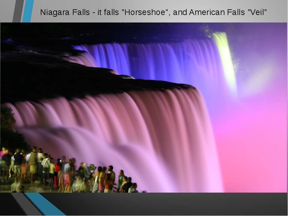 "Niagara Falls - it falls ""Horseshoe"", and American Falls ""Veil"""