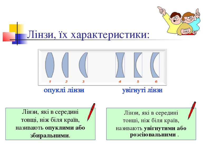 Лінзи, їх характеристики: Лінзи, які в середині товщі, ніж біля країв, назива...
