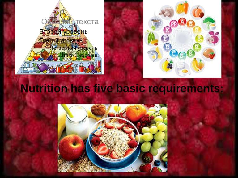 Nutrition has five basic requirements: