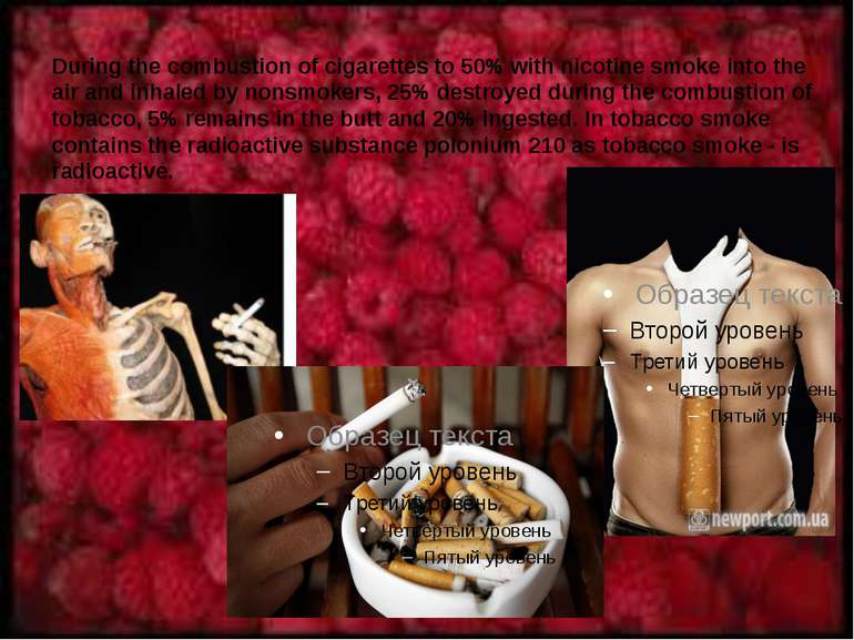 During the combustion of cigarettes to 50% with nicotine smoke into the air a...