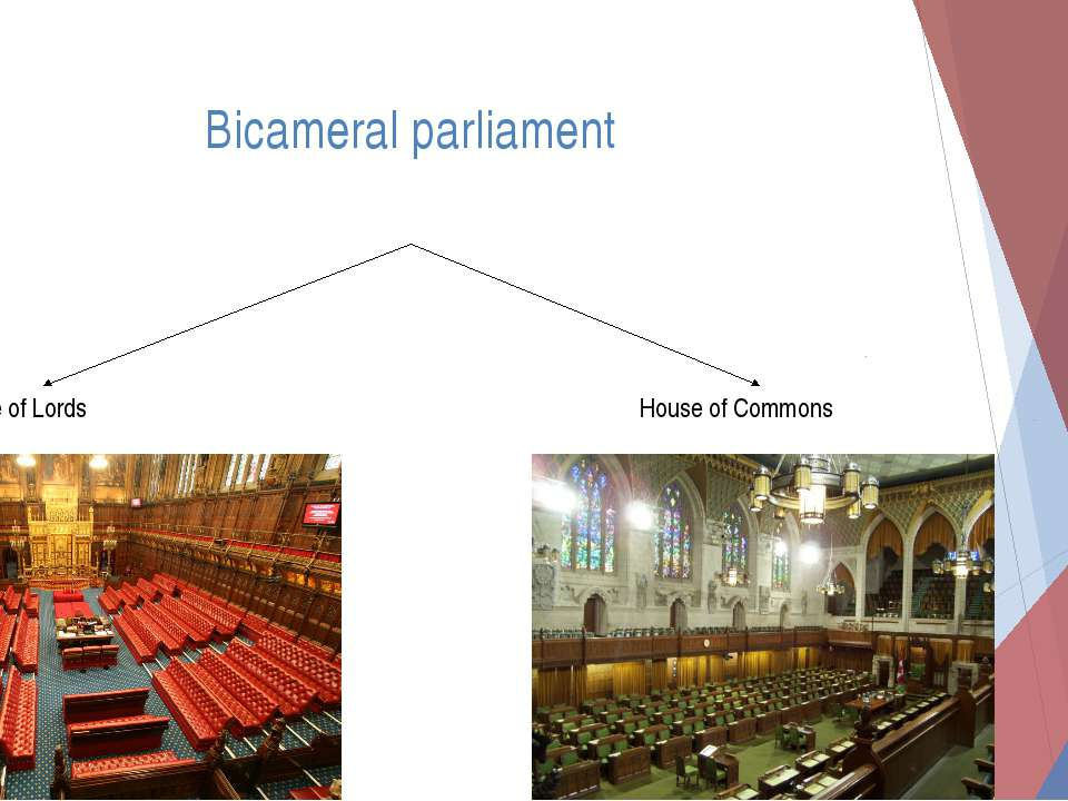Bicameral parliament House of Lords House of Commons