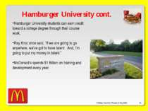 O'Malley, Ouellette, Plourde, & Roy 2009 * Hamburger University cont. Hamburg...