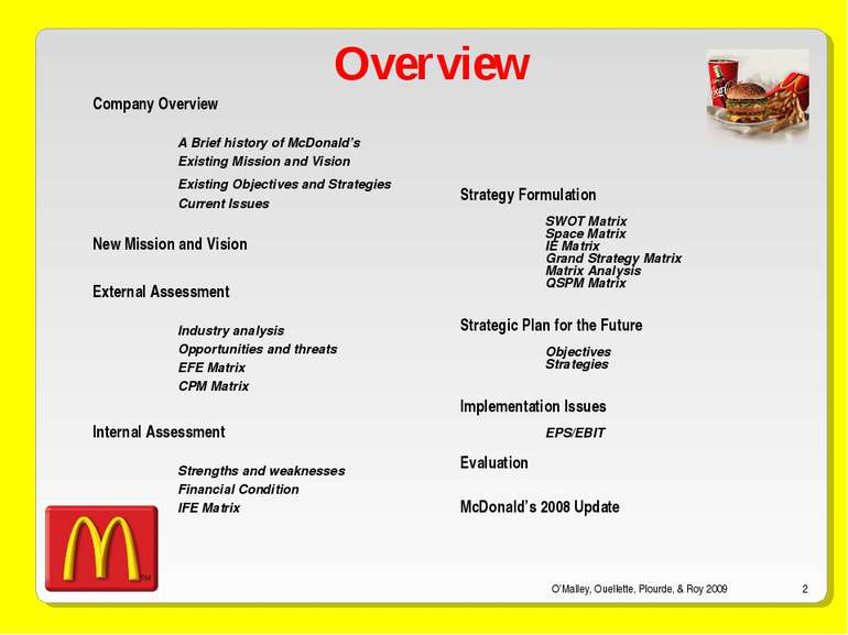 mcdonalds objectives