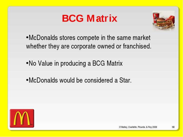 O'Malley, Ouellette, Plourde, & Roy 2009 * BCG Matrix McDonalds stores compet...