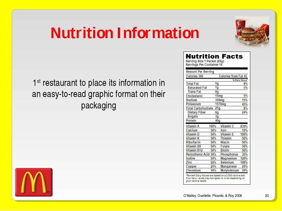 O'Malley, Ouellette, Plourde, & Roy 2009 * Nutrition Information 1st restaura...