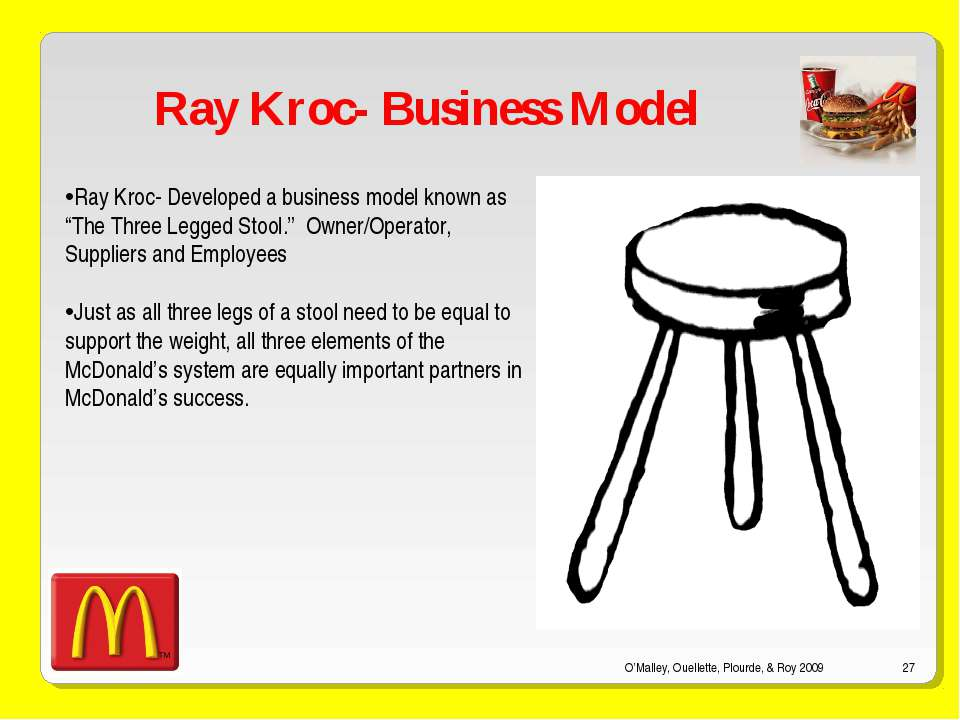 O'Malley, Ouellette, Plourde, & Roy 2009 * Ray Kroc- Business Model Ray Kroc-...
