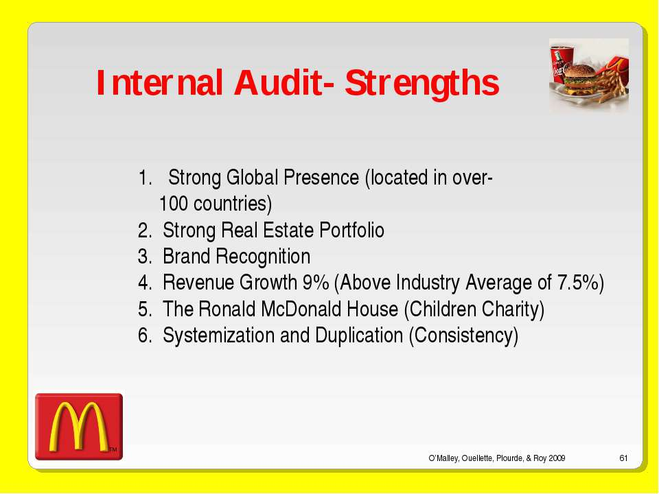 O'Malley, Ouellette, Plourde, & Roy 2009 * Internal Audit- Strengths Strong G...