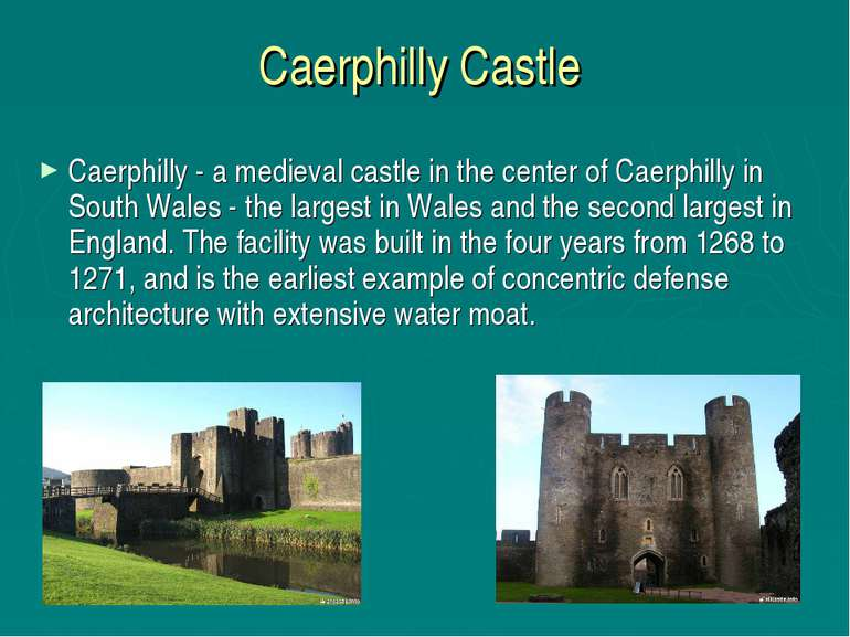 Caerphilly Castle Caerphilly - a medieval castle in the center of Caerphilly ...