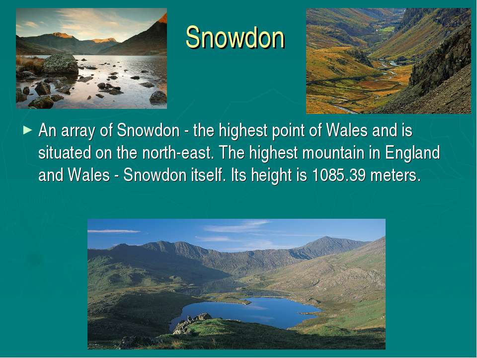 Snowdon An array of Snowdon - the highest point of Wales and is situated on t...