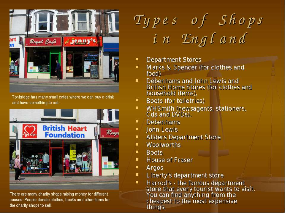 Types of Shops in England Department Stores Marks & Spencer (for clothes and ...