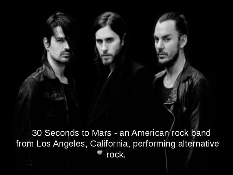 30 Seconds to Mars - an American rock band from Los Angeles, California, perf...
