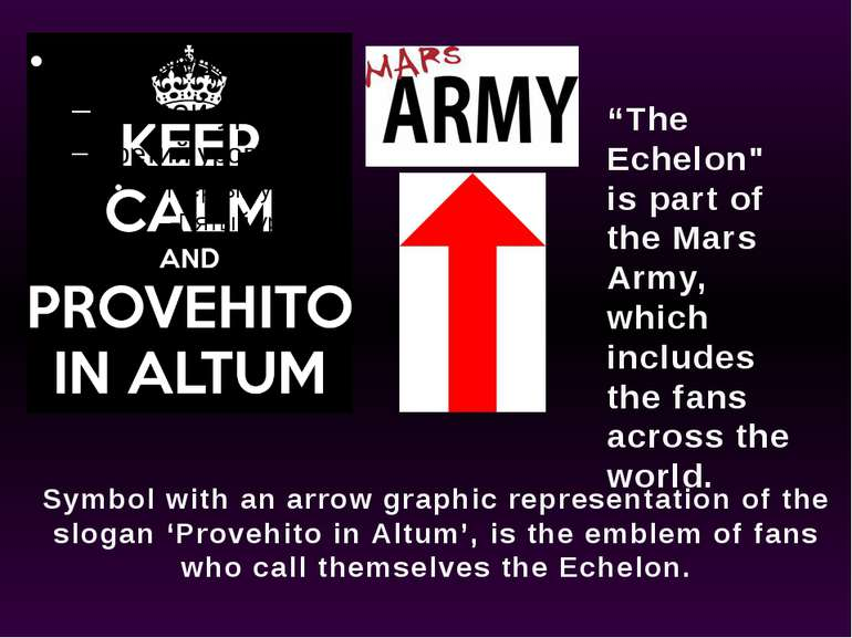 Symbol with an arrow graphic representation of the slogan 'Provehito in Altum...