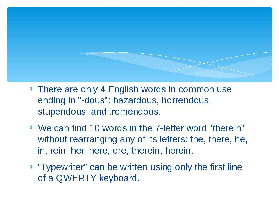"""There are only 4 English words in common use ending in """"-dous"""": hazardous, ho..."""