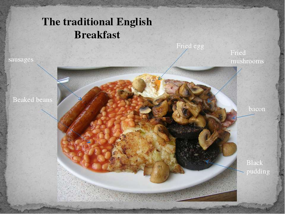 The traditional English Breakfast sausages Beaked beans Fried egg Fried mushr...