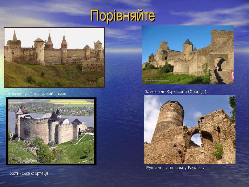 Порівняйте Кам'янець-Подільський замок Хотинська фортеця Замок біля Каркасона...