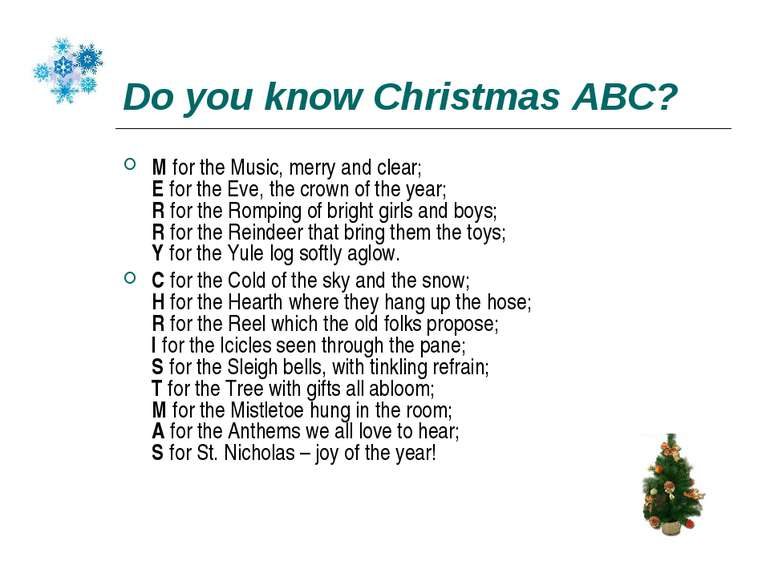 Do you know Christmas ABC? M for the Music, merry and clear; E for the Eve, t...
