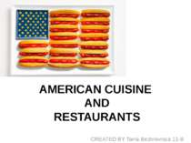 """AMERICAN CUISINE AND RESTAURANTS"""
