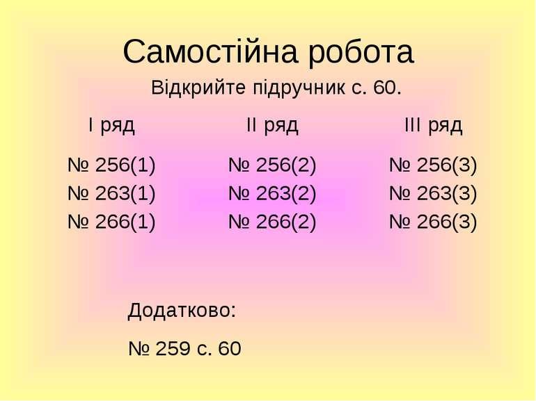 Самостійна робота Додатково: № 259 с. 60 Відкрийте підручник с. 60.