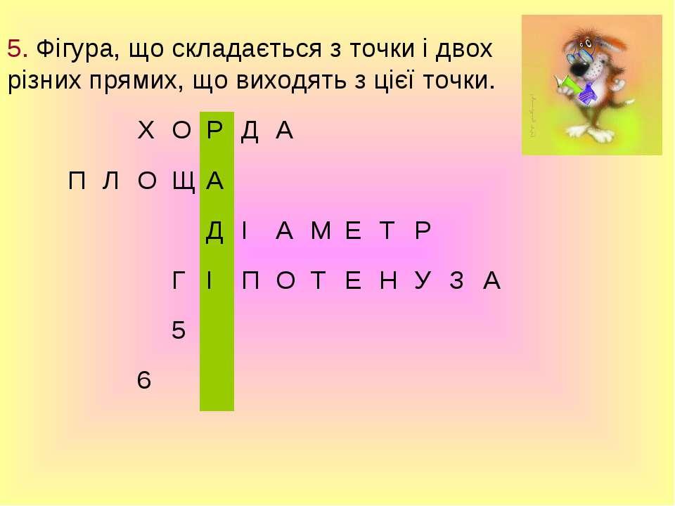 5. Фігура, що складається з точки і двох різних прямих, що виходять з цієї то...