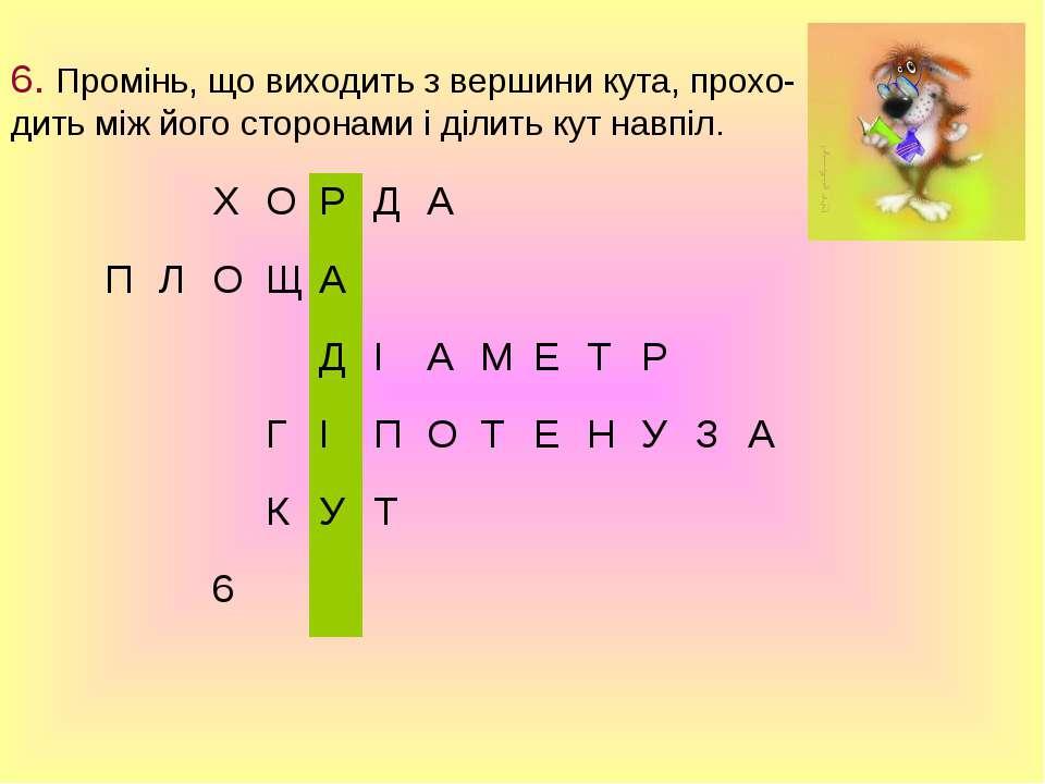 6. Промінь, що виходить з вершини кута, прохо- дить між його сторонами і діли...