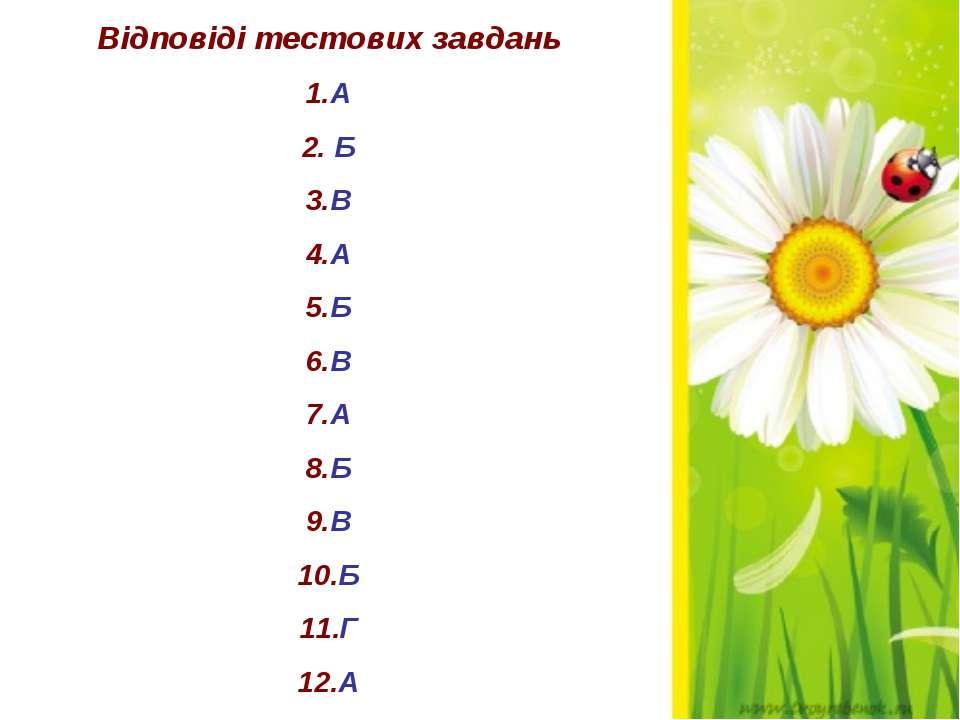 Відповіді тестових завдань 1.А 2. Б 3.В 4.А 5.Б 6.В 7.А 8.Б 9.В 10.Б 11.Г 12.А