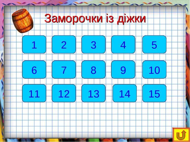 Заморочки із діжки 1 6 2 7 11 12 13 8 3 14 9 15 10 4 5