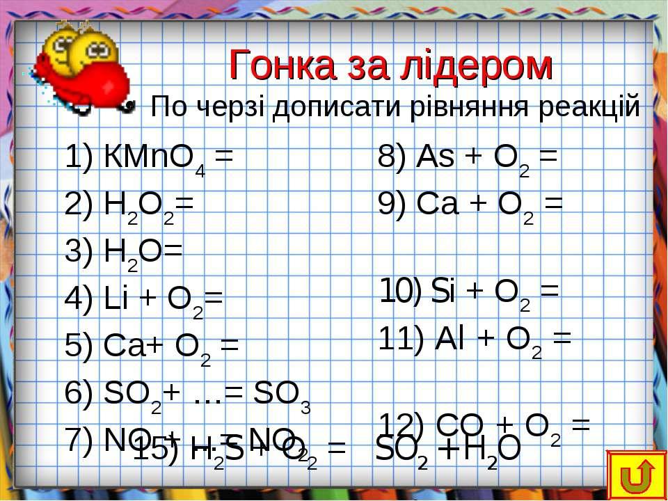 Гонка за лідером По черзі дописати рівняння реакцій КМnО4 = Н2О2= Н2О= Lі + О...